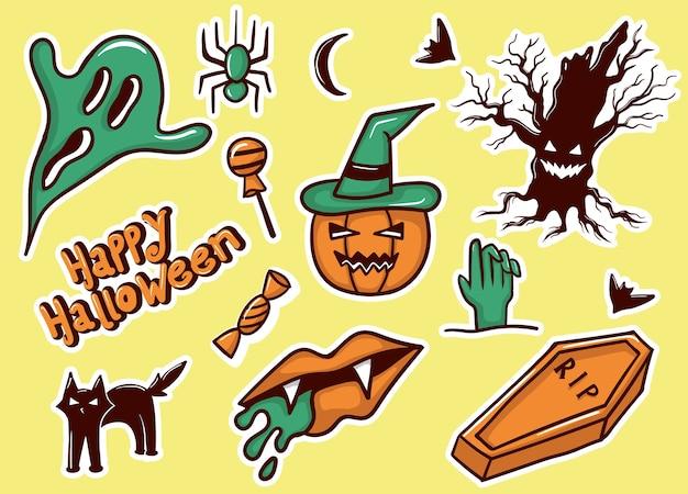 Collezione di adesivi di halloween colorati disegnati a mano