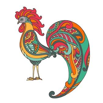 Illustrazione disegnata a mano colorata di gallo ardente in stile ornato di doodle