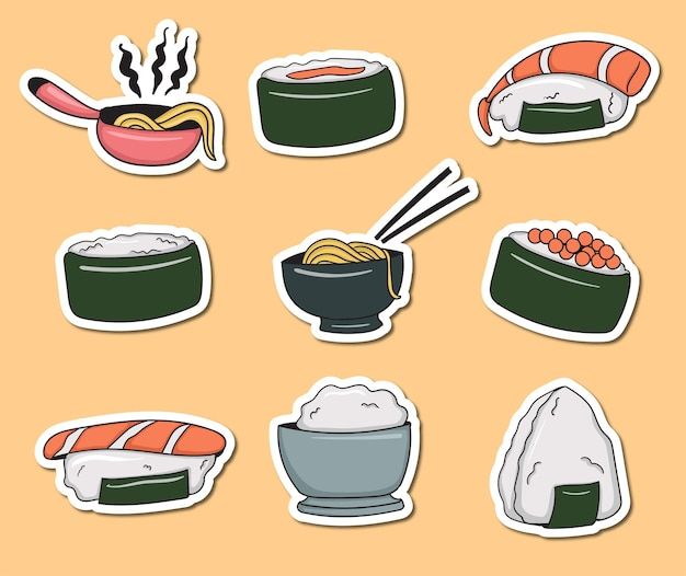Collezione di adesivi per alimenti giapponesi colorati disegnati a mano