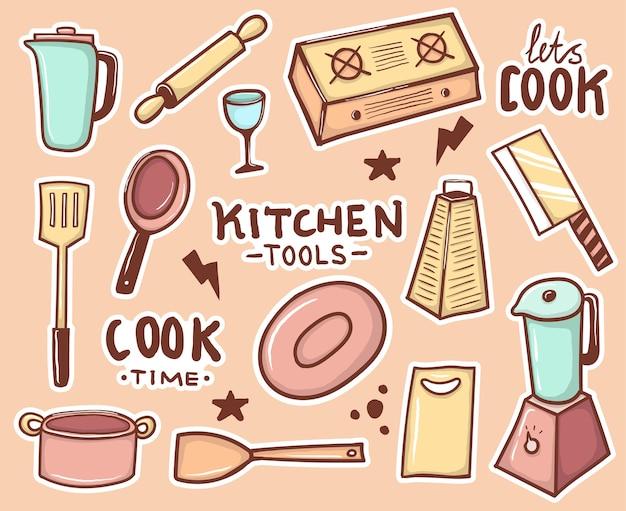 Collezione di adesivi colorati disegnati a mano utensili da cucina