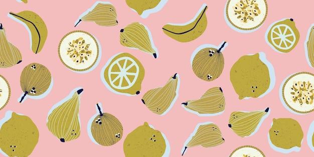 Colorato disegnato a mano pere banane frutti della passione limoni e limette nel vettore senza cuciture pattern