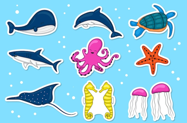 Collezione di adesivi di animali marini disegnati a mano colorati