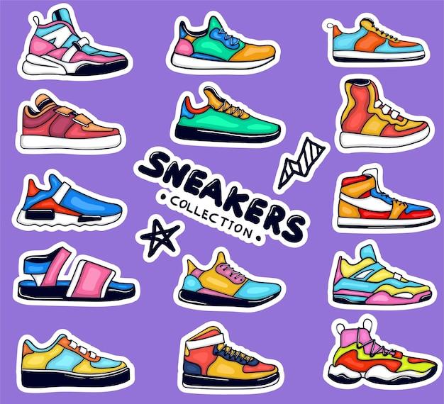 Collezione di adesivi colorati disegnati a mano scarpe da ginnastica