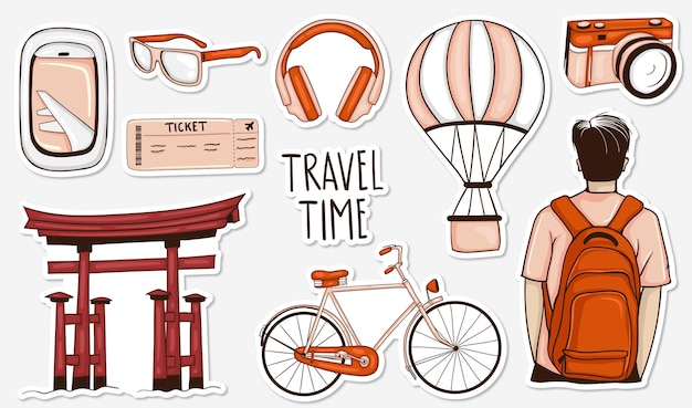 Collezione di adesivi da viaggio colorati disegnati a mano