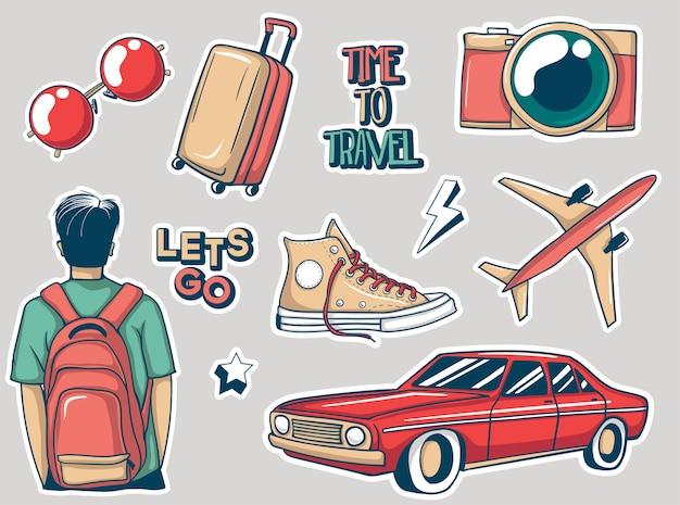 Collezione di adesivi di viaggio colorati disegnati a mano