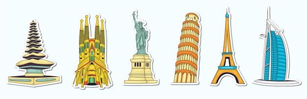 Collezione di punti di riferimento del mondo disegnato a mano colorato