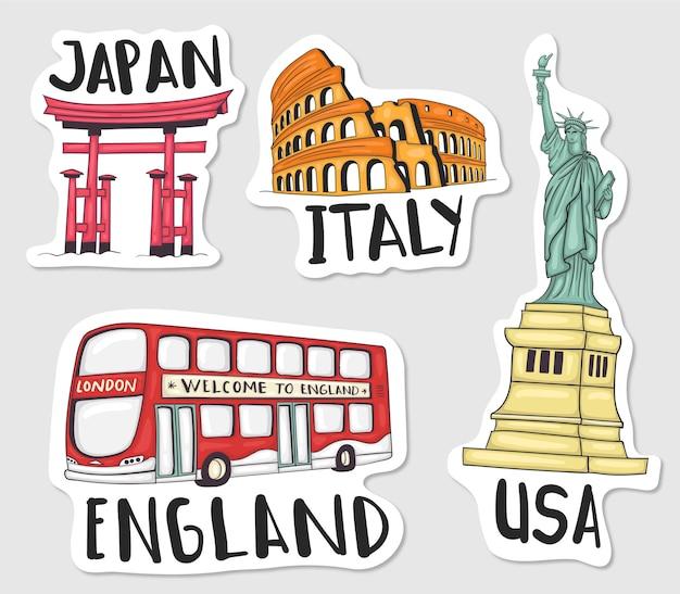 Collezione di adesivi di punti di riferimento del mondo disegnato a mano colorato