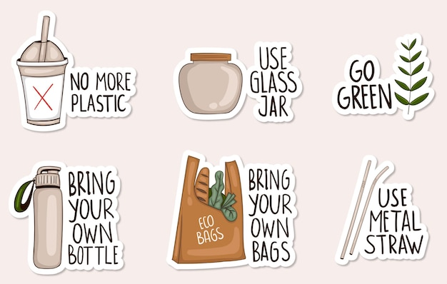 Collezione di adesivi a zero rifiuti disegnati a mano colorati