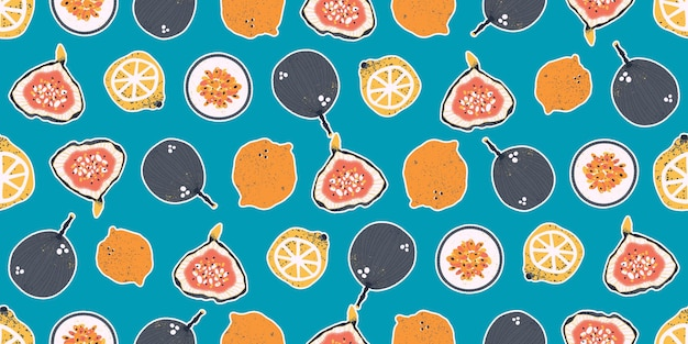 Frutti della passione colorati disegnati a mano, limoni, lime, arance e fichi in un modello senza cuciture vettoriale