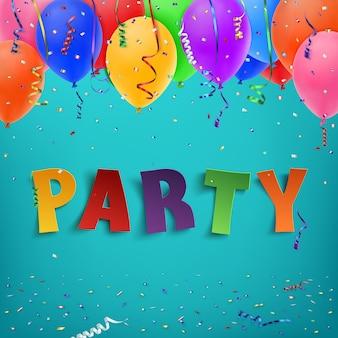 Festa tipografica colorata a mano con coriandoli, palloncini e nastri colorati su sfondo blu.