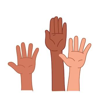 Le mani colorate si alzano. voto per la libertà. sciopero o manifestazione. illustrazione di vettore nello stile dei bambini del fumetto. clipart isolato su priorità bassa bianca.