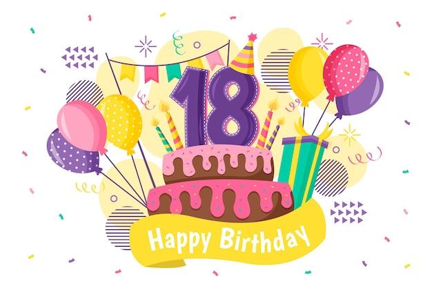 Sfondo colorato felice diciottesimo compleanno