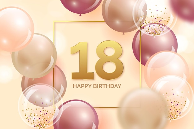 Sfondo colorato buon compleanno con palloncini realistici Vettore Premium