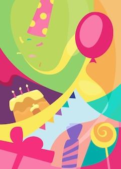Poster colorato di buon compleanno. cartolina di vacanza design in stile piatto.