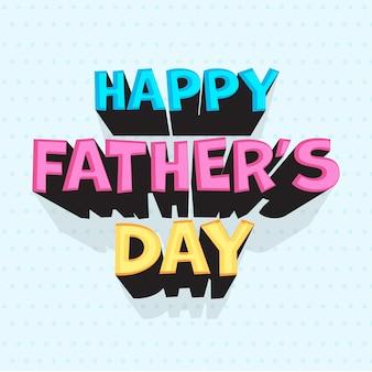 Carattere di festa del papà felice colorato su sfondo blu punteggiato.