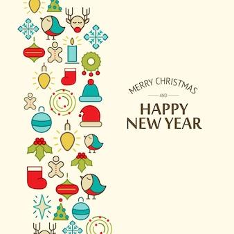 Colorato felice anno nuovo e buon natale card