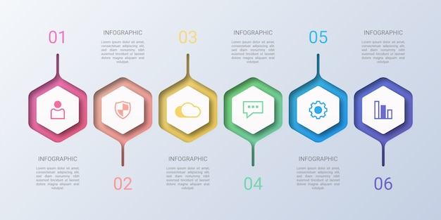 Esagono colorato affari infografica