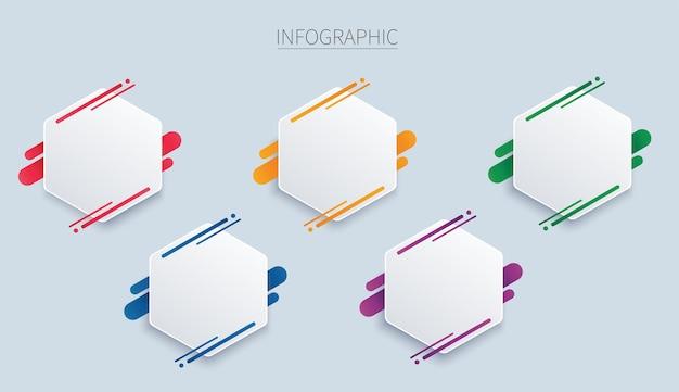 Modello di infografica esagonale colorato con 5 opzioni