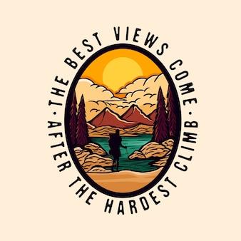 Logo distintivo colorato avventura escursionistica