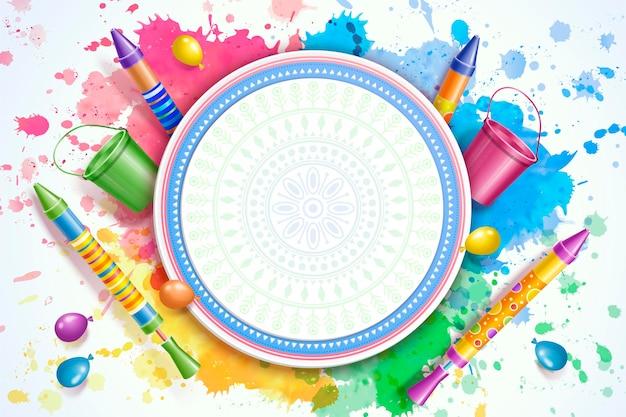 Design colorato banner holi con elementi pichkari e secchio d'acqua