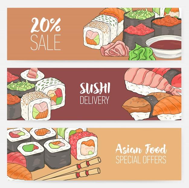Modelli di banner orizzontali colorati con sushi giapponese disegnato a mano, rotoli, wasabi di sashimi, bacchette.