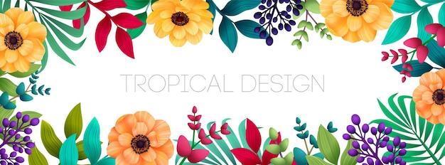 Sfondo tropicale estivo colorato orizzontale con foglie di palma e fiori esotici