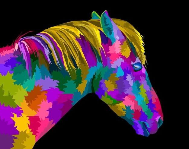 Disegno del manifesto in stile ritratto pop art cavallo colorato