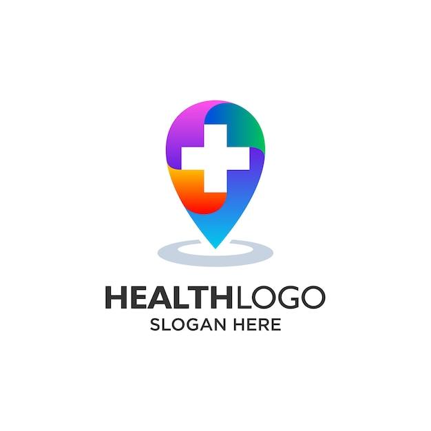 Design logo colorato punto ospedale