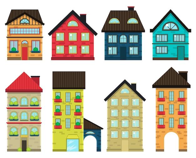 Vista frontale di case colorate