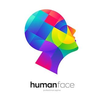 Design colorato del logo dell'intelligenza artificiale del volto umano