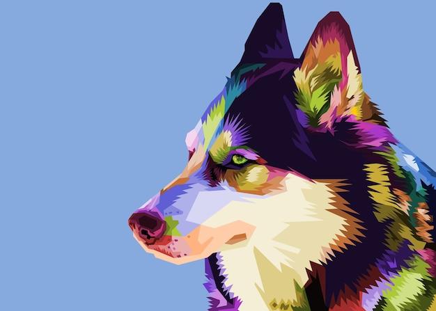 Cane husky colorato in stile pop art.