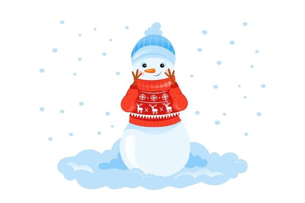 Illustrazione variopinta nello stile piano del fumetto del personaggio sorridente felice del pupazzo di neve in maglione su bianco