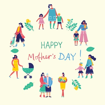 Concetto variopinto dell'illustrazione della festa della mamma felice. madri con i bambini nel design piatto per biglietti di auguri, poster e sfondi