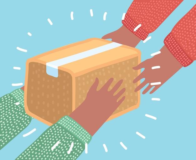 Concetto di illustrazione colorata per un servizio di consegna molto veloce. mani che trasportano una scatola.
