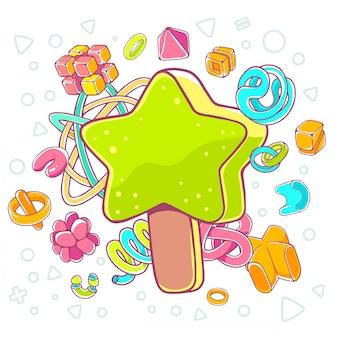 Illustrazione colorata di gelato verde stella su sfondo bianco con elementi astratti.