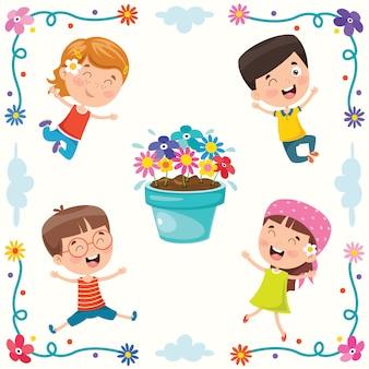 Illustrazione colorata per la giornata dei bambini felici