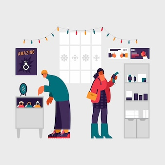 Illustrazione colorata di moderni clienti maschi e femmine che selezionano gioielli e orologi da polso durante la vendita di natale nel negozio moderno