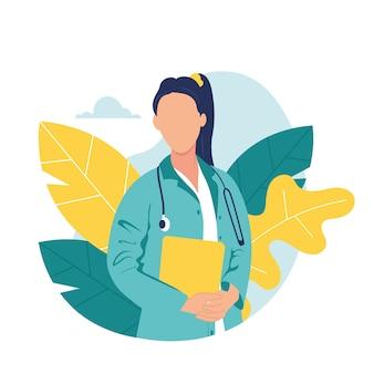 Illustrazione variopinta del medico donna realistica amichevole. bella bruna sorridente in uniforme medica femminile con lo stetoscopio. appunti svegli piatti positivi della tenuta dell'infermiera dei giovani in mani
