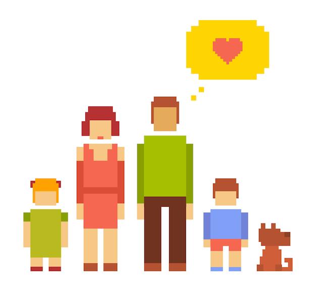 Illustrazione colorata di piccola ragazza, ragazzo, cane, donna e uomo coppia famiglia felice su sfondo bianco. famiglia di persone tipiche insieme. pixel art retrò della famiglia moderna