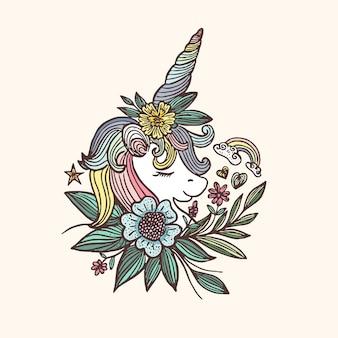Illustrazione colorata con fiore di unicorno disegnato a mano