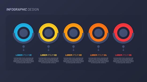 Design infografico colorato, modello, concetto, presentazione. 5 passaggi