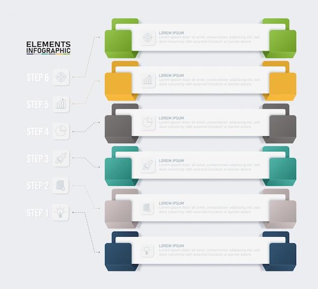Modello di elementi colorati infografica, concetto di business con 6 opzioni.