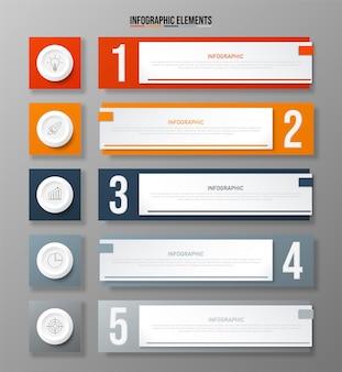 Modello di elementi infografici colorati concetto di affari con cinque opzioni