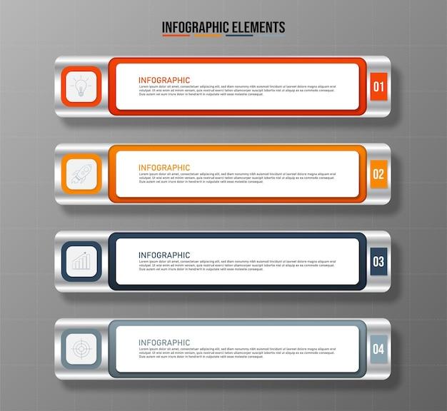 Modello di elementi infografici colorati concetto di affari con quattro opzioni
