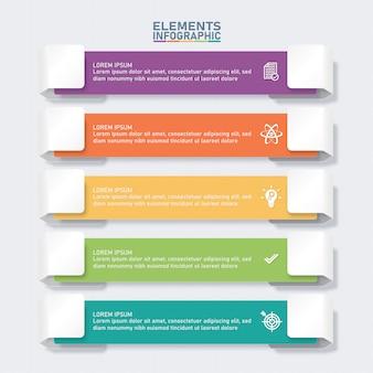 Modello di elementi infografica colorato, concetto di business.