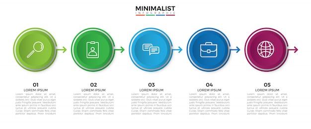 Modello di progettazione etichetta colorata infografica