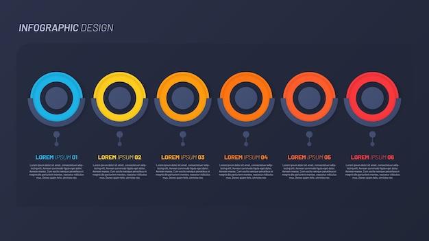 Modello colorato infografica. 6 passaggi