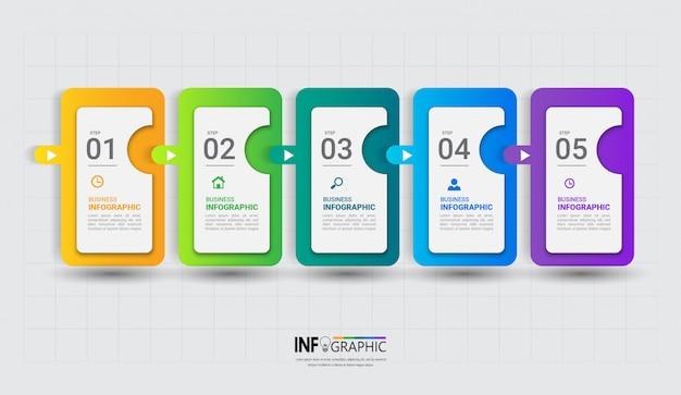 Modello di infografica colorato con cinque passaggi