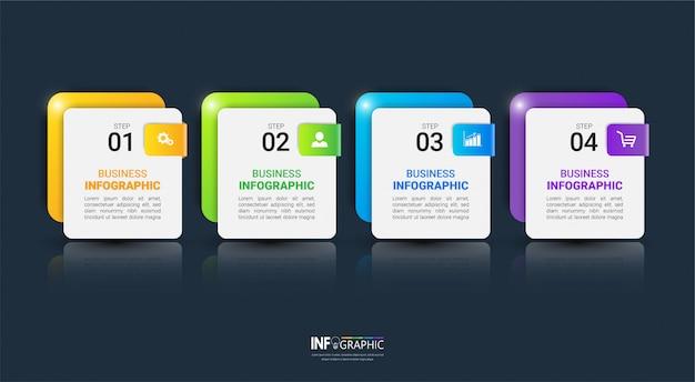 Modello di infografica colorato con quattro passaggi
