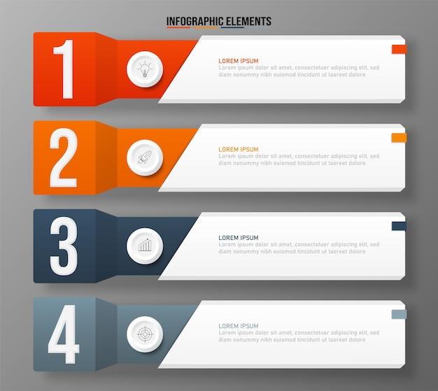Modello di elementi colorati infografica, concetto di affari con 4 opzioni